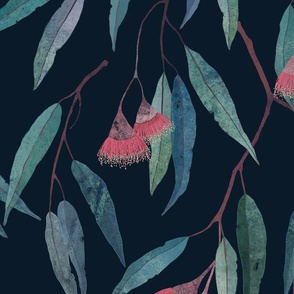 eucalyptus with pink flowers on navy