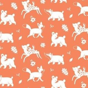 Woodland animals white on Deep Orange