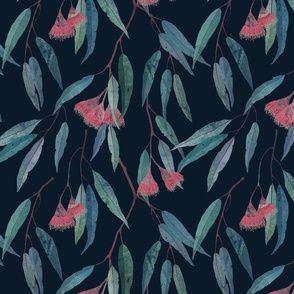 eucalyptus with pink flowers on navy /scale/