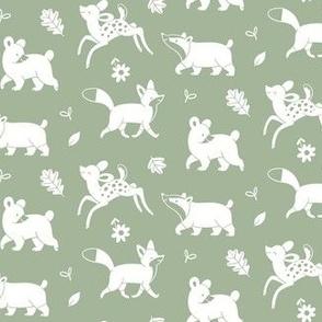 Woodland animals white on Sage Green
