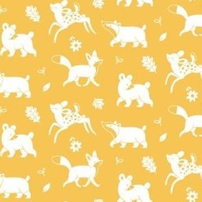 Woodland animals white on Yellow Ochre