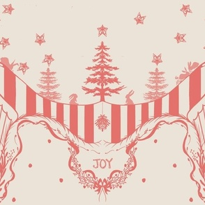 Holiday candy stripe rabbit in the woods