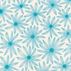 watercolor flowers - blue