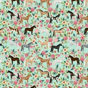 SMALL horse multi coat floral horses fabric mint