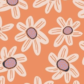 Peach and Lilac Floral - Large Scale