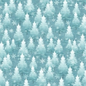 Blue Pine Tree Forest