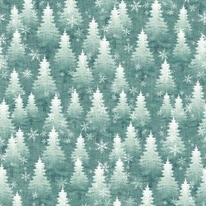 Teal Green Pine Tree Forest