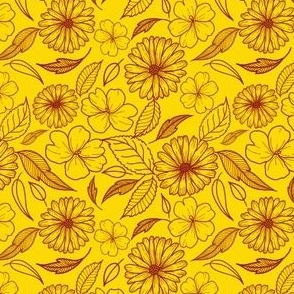 Gold and maroon line florals