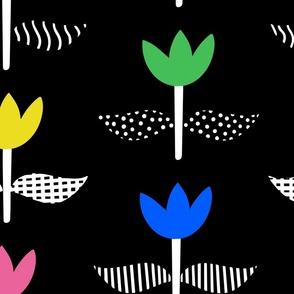 Tulip Field - Black, Large