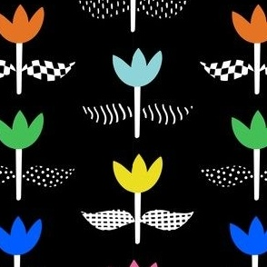 Tulip Field - Black, Small
