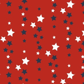 White and blue stars on red