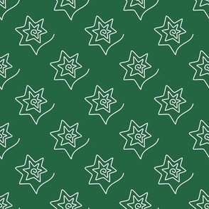 Curved Stars on emerald green