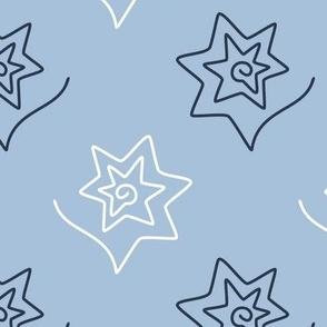 Curved Stars on light blue