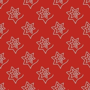 Curved Stars on poppy red