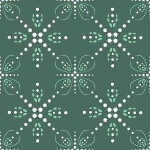 Beaded Stars on pine green