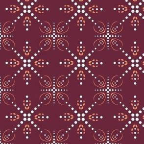 Beaded Stars on wine red