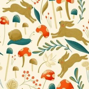 Bunnies and Mushrooms - JG half size