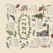 2021 Calendar Tea Towel Woodland