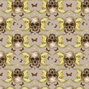 Skull and moon face neutral pattern