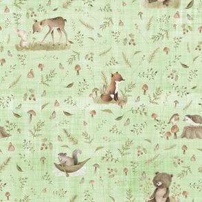 woodland green linen