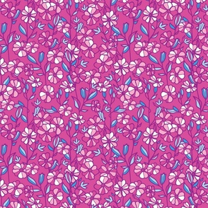 Magenta blue blossoms repeat pattern