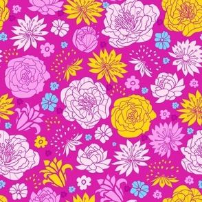 Vibrant lovely flowers fabric