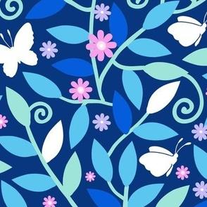 Blue garden and butterflies fabric