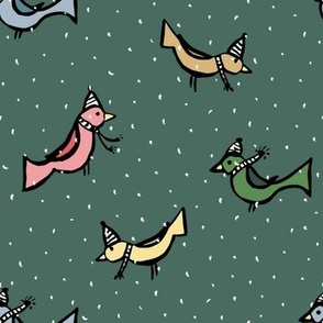 Birds enjoying the snow