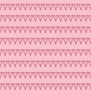 Candy Cane Heart Stripe - Pink