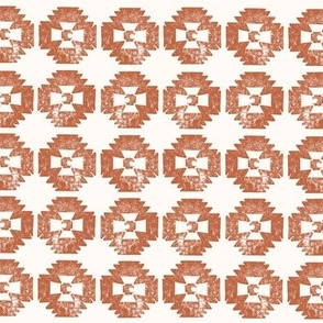 Rust brown bohemian hand stamped ikat pattern - small scale