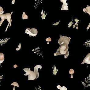 woodland animals black