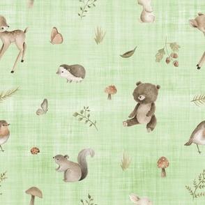 woodland animals green linen