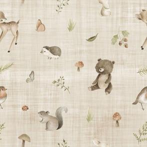 woodland animals brown linen