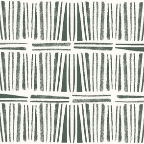 Geometric pine green hand stamped bohemian stripes - small scale
