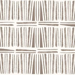 Geometric taupe grey hand stamped bohemian stripes - medium scale