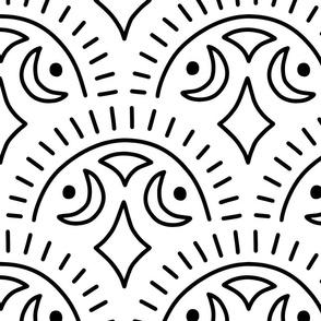 Modern Tribal Scallops - Black on White, Large