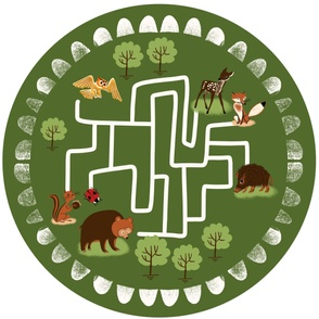 Woodland animals playmat with in 42x36inch green
