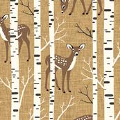 Large Scale / Birch Deer / Mustard Textured Background