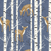 Small Scale / Birch Deer / Blue Textured Background