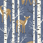 Large Scale / Birch Deer / Blue Textured Background