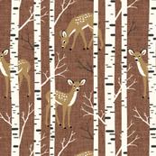 Small Scale / Birch Deer / Rust Textured Background