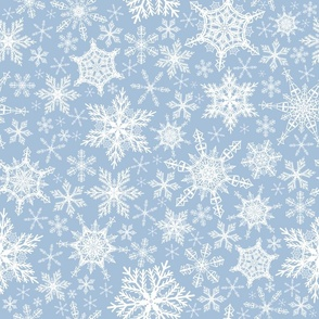 Elegant Sky Blue Snowflakes