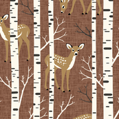 Large Scale / Birch Deer / Rust Textured Background