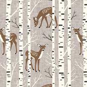 Small Scale / Birch Deer / Warm Grey Textured Background