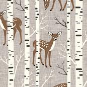 Large Scale / Birch Deer / Warm Grey Textured Background