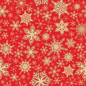 Festive Red Yellow Elegant Snowflakes