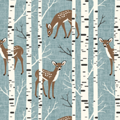 Small Scale / Birch Deer / Dusky Blue Textured Background