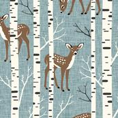 Large Scale / Birch Deer / Dusky Blue Textured Background