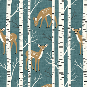 Small Scale / Birch Deer / Teal Textured Background