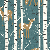 Large Scale / Birch Deer / Teal Textured Background
